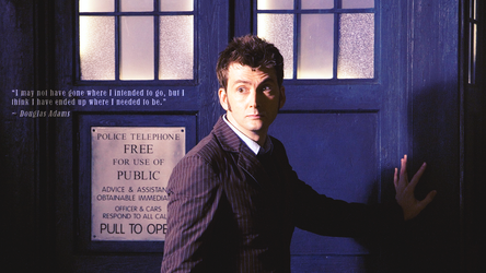 Doctor Who Wallpaper: Ten and TARDIS by U-No-Poo