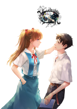 Asuka Langley and Shinji Ikari render by Ichikari