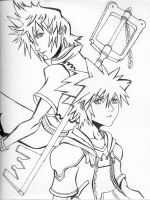 Roxas and Sora Lineart by Mikouyo