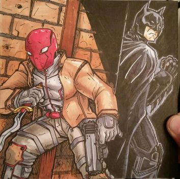 Redhood and batman colors by Grymjack