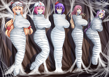 5 girl wrap with spider web full color by otaku100100