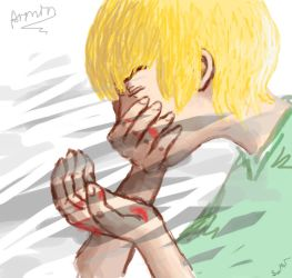 Blood on his hands. by GoldenYume