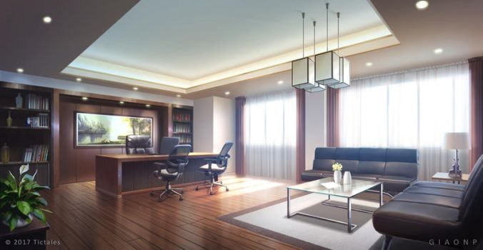 Luxury Office_Day - Visual Novel Background by giaonp