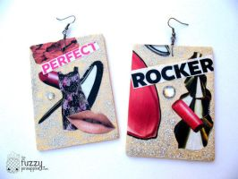 Perfect Rocker Collage Earrings by TheFuzzyPineapple