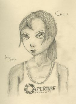 Chell Sketch - Portal by laserswords