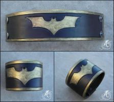 Batman Wristband - Leather by JAFantasyArt