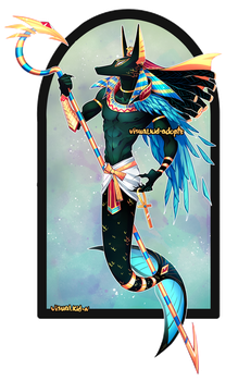 [CLOSED] Adopt auction - Anubis merman by visualkid-adopts