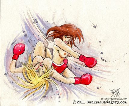 comission - boxing girls 02 by FASSLAYER