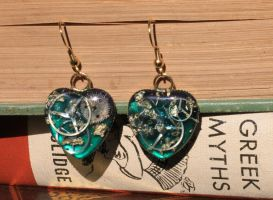 Steampunk Heart Earrings by KiomyNightmare