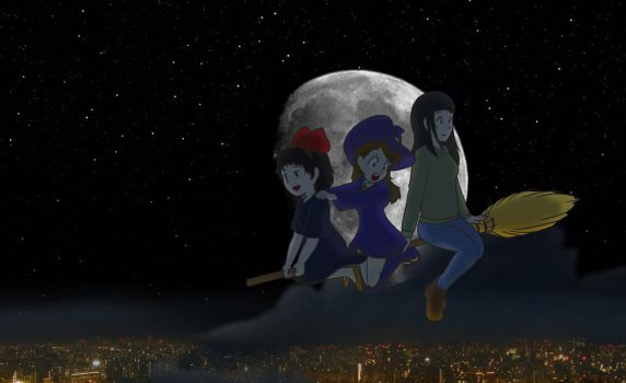 Witches (Night Mode) - Kiki, Akko, Makoto by geek96boolean10