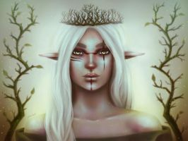 Wood Elf Queen II || portrait by pinkastr