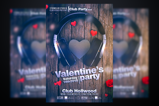 Valentines Party Flyer Template by stormclub