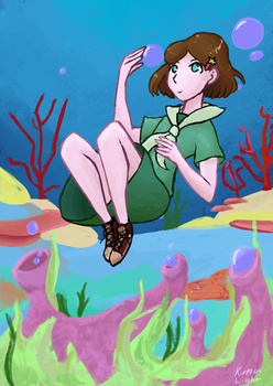 The girl in the sea by kirmalight