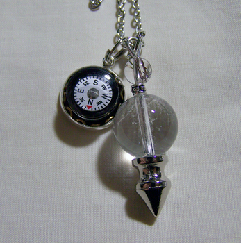 Quartz Crystal Ball with Silver Spike and Compass by mymysticgems