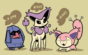 Nosepass, Skitty, Delcatty