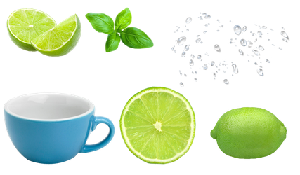 green lemon cup and water drop PNG by Jujoy1990
