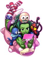 shehulk playing pokemon sun and moon by cva1046
