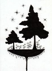 Two trees at midnight by MarcHorn