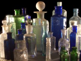 lots of old bottles by barefootliam-stock