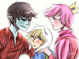Marshall Lee x Finn X Prince Gumball by hzrinv