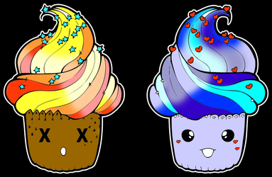 Summer and Winter cupcakes by betaluna