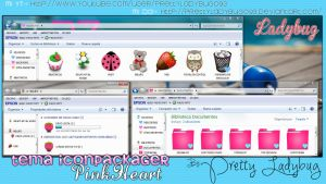 Theme Iconpackager PinkHeart by PrettyLadybug093