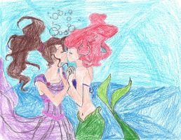 Meg and Ariel kiss color by Pronon1990