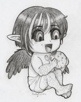 Baby Lucifer with a Cookie by EmilyCammisa