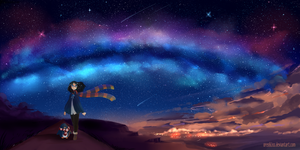 Stargazing with my best friend by Poncakes