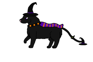 DTA Black witch cat Kepukitsune :open: by BluethornWolf