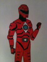 Red Power Ranger Sketch ReImagining Colour by Antni