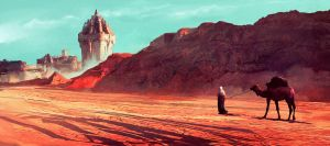 desert scene- sketch of the day by Oana-D