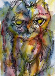 Cat - watercolour and ink by rev-Jesse-C