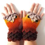 Amber Owl Gloves by FearlessFibreArts