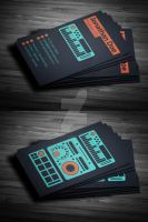 Flat Producer / DJ Business Card (psd template) by iamvinyljunkie
