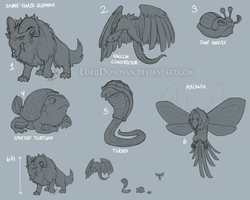 Crystal Core Land and Air Creature Concepts by LordDonovan