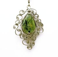 Wire Wrap Necklace with Prehnite stone by hyppiechic