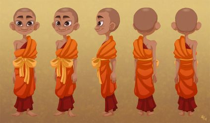 Novice Monk - Character Turn-around by Savarama