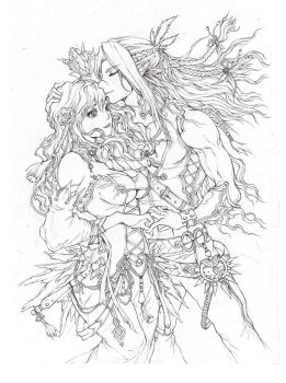 Elves Romance - Emma and Fydris (lineart) by KenshjnPark