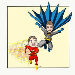 Batman and the Flash by Hamiltoons