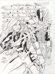Rose and DeathStroke by bathill8