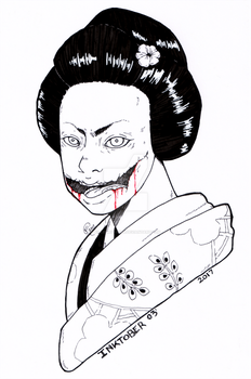 Inktober Day 3: Kuchisake Onna by killedmyhopes