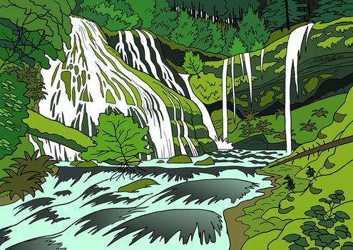Forest Waterfall by SugaryAshes