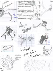 Doodles at school: monster by KuroRyu-chan