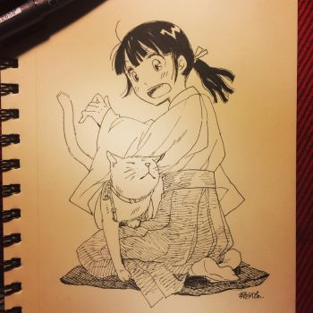 Miko and Neko - inktober.02 2015-10-04 by lita426t