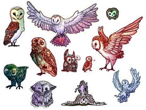The army of owls by NecktiePom