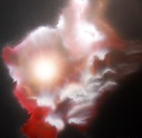 Airbrush galaxy clouds nebula in acrylic on wood by Airgone