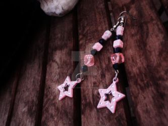 Pink DiceSkull+Star Earrings by Tattooed-Gumball