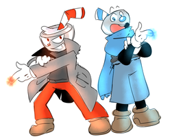 Cuphead and Mugman (the quest for the ink machine) by thegreatrouge