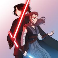 So Close... Kylo Ren and Rey by FanwenArt